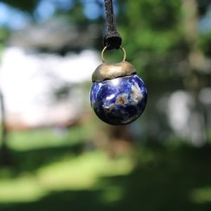 Sodalite crystal ball necklace talisman pendant